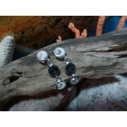 Boucles d'oreille argent massif oeil de Sainte Lucie et diorite noire