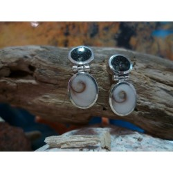 Sterling silver earrings with Black Diorite and the Eye of Saint Lucia