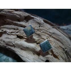Boucles d'oreille argent massif et Vert d'Orezza