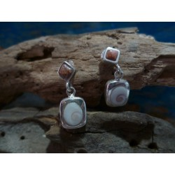 Sterling silver earrings with Rouge de Porto and the Eye of Saint Lucia