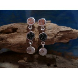 Sterling silver earrings with the Eye of Saint Lucia and a mix of Corsican stones