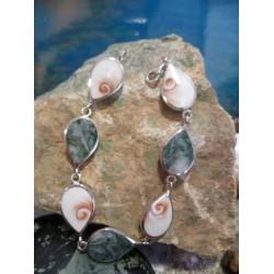 Bracelet argent massif oeil de Sainte Lucie et Vert d'Orezza