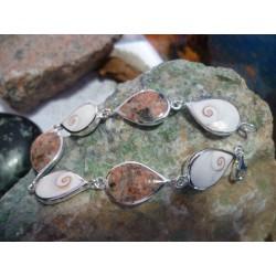 Bracelet argent massif oeil de Sainte lucie et Rouge de Porto