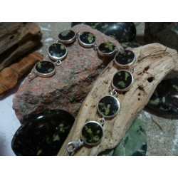 Bracelet argent massif et Verde Stella