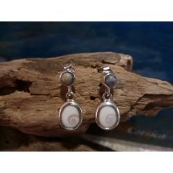 Boucles d'oreille argent massif oeil de Sainte Lucie et Vert d'Orezza