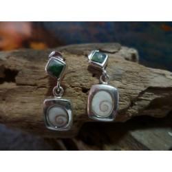 Boucles d'oreille oeil de Sainte Lucie et Vert d'Orezza