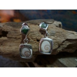Sterling silver earrings with Vert d'Orezza and the Eye of Saint Lucia