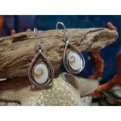 Boucles d'oreille argent massif et oeil de Sainte Lucie