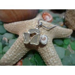 Sterling silver pendant with frosted seaglass and the Eye of Saint Lucia