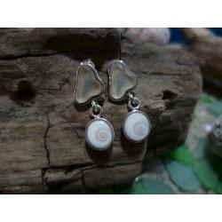 Boucles d'oreille argent massif oeil de Sainte Lucie et verre de plage