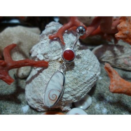 Piercing argent massif corail rouge et oeil de Sainte Lucie