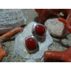 Sterling silver earrings with the true Mediterranean red coral