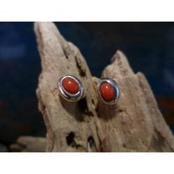 Boucles d'oreille argent et Corail Rouge de Méditerranée