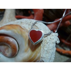 Sterling silver pendant with the true Mediterranean red coral