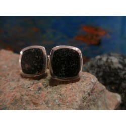 Sterling silver cufflinks with Black Diorite