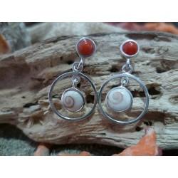 Boucles d'oreille Oeil de Sainte Lucie et Corail Rouge de Méditerranée