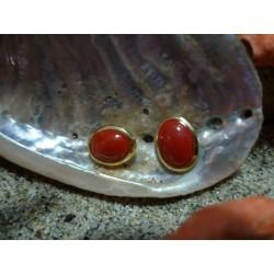 Boucles d'oreille or 18 carats et Corail Rouge de Méditerranée