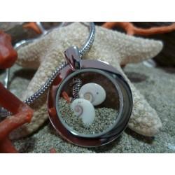Pendentif oeil de Sainte Lucie et corail rouge