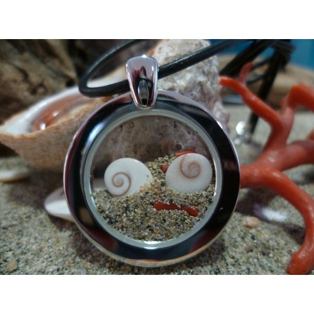 Pendentif acier oeil de Sainte lucie et corail rouge