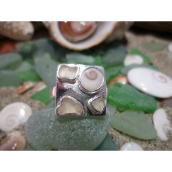 Sterling silver ring with frosted seaglass and the Eye of Saint Lucia