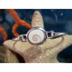 Bracelet rigide argent massif et oeil de Sainte Lucie