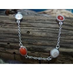 Bracelet corail rouge et oeil de Sainte Lucie, en argent massif 925/ème