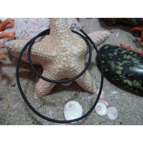 Cordon cuir noir 40 cm et argent massif