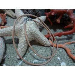 Cordon 40 cm cuir naturel et argent massif