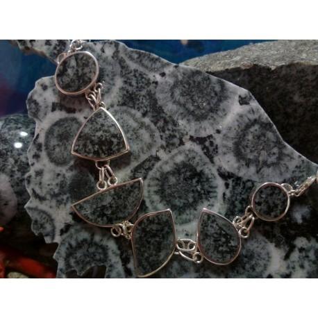 Bracelet argent massif et diorite orbiculaire