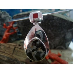 Sterling silver pendant with red coral and orbicular diorite