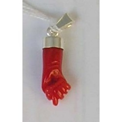 Red coral 'HAND' pendant and 925 Sterling Silver