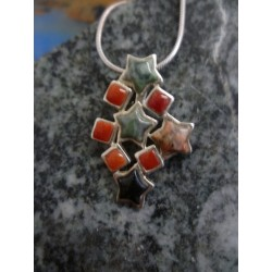 Sterling silver pendant with red coral and a mix of Corsican stones