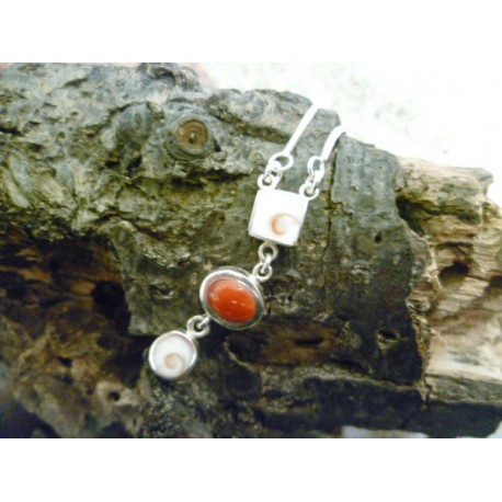 Sterling silver necklace with red coral and the Eye of Saint Lucia