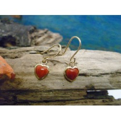 18k Gold earrings with the true Mediterranean red coral