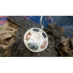Pendentif argent massif oeil de Sainte Lucie et mélange de pierres de Corse