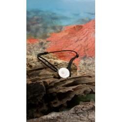Bracelet cordon cuir noir et oeil de Sainte Lucie