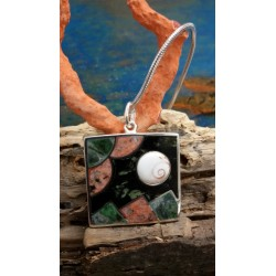 Sterling silver pendant with the Eye of Saint Lucia and a mix of Corsican stones