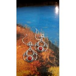 Boucles d'oreille argent massif et corail rouge de Méditerranée