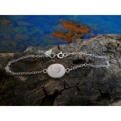 Bracelet argent massif et oeil de Sainte Lucie