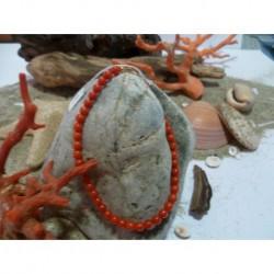 Bracelet argent massif et corail rouge de Méditerranée