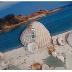 Pendentif argent massif et oeil de Sainte Lucie et turquoise
