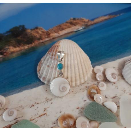 Pendentif argent massif et oeil de Sainte Lucie avec turquoise