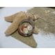 Pendentif  acier ,oeil de Sainte Lucie et corail rouge