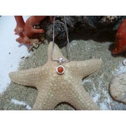 Pendentif argent massif et corail rouge