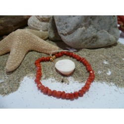 18k Gold bracelet with the true Mediterranean red coral