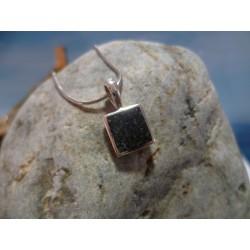 Pendentif argent massif et diorite noire